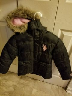 Little girl Polo jacket size 5 to 6 and boots size 10