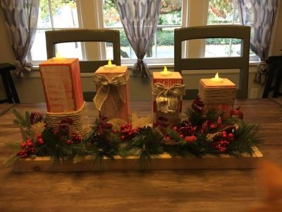 Handmade wooden Red and White centerpiece