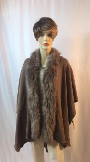 One Size Fits Most Dark Taupe Faux Fur Cape; Excellent Condition