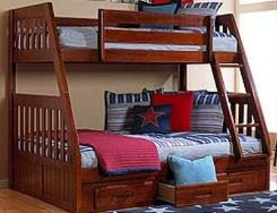 $728, New mission twinfull bunk bed with mattresses