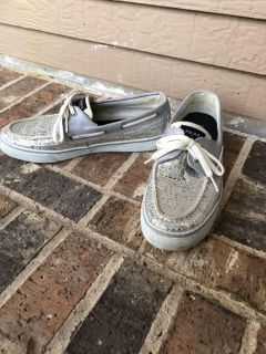 Size 9.5 Silver Sequin Sperry s