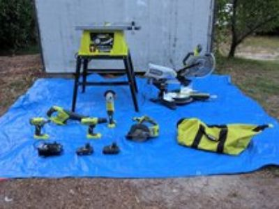 Table Saw, Sliding Miter w/Laser, Tool Bag of Various Hand Tools