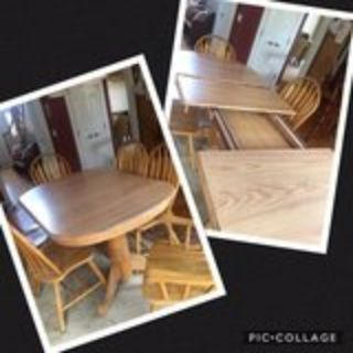 kitchen table and 6 chairs (2 self storing 12 inch leaves included)