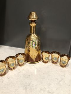 Vintage Murano Amber Glass Decanter and 6 Glasses. Hand painted flowers and Gold Gilt. Made in Italy