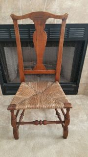 American 18th Century Antique Side Chair with Rush Seat