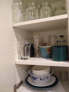 Cups, glasses, mugs, bowls, plates, jars