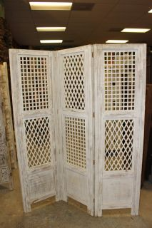 White Antique Room Divider Wooden Screen 3 Panel