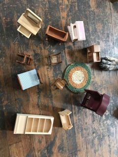 Vintage (?) wooden doll house furniture. $6/all
