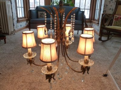 Bronze Six Light Chandelier with Crystal Prisms and Taupe Shades