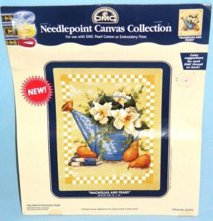 "New DMC Collection ""Magnolias and Pears"" Needlepoint Canvas Crafts"