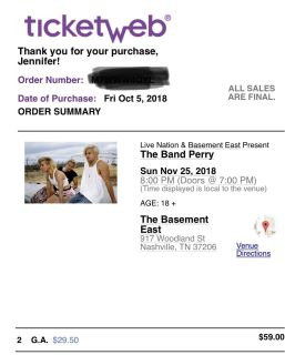 The Band Perry, 2 tickets!