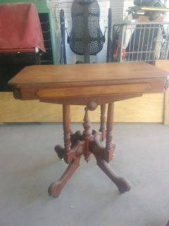 antique table on wheels