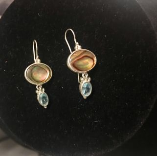 STERLING SILVER EARRINGS GOLD/Brn. Stone and aqua blue stone