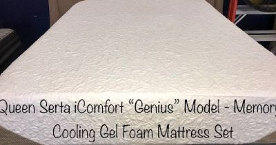 Queen Serta iComfort Genius Cooling gel Foam Mattress Set