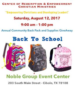 CORE Christian Ministries 2nd Annual Backpack and School Supplies Give-A-Way