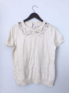 Beige Melange Top with Lace Cut-Out Collar