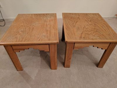 Matching solid wood end tables