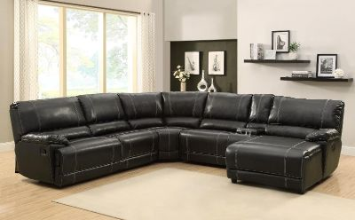 Cale Sectional Sofa Set - Black - Bonded Leather