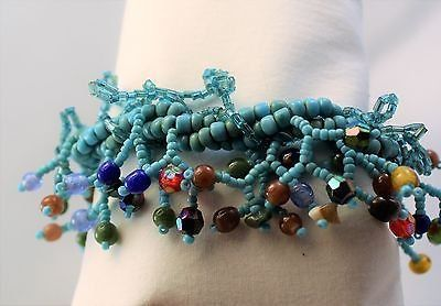 Turquoise blue plastic beaded clasp statement chain bangle