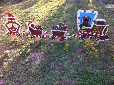 gingerbread train yard decor