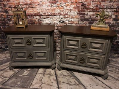 Pair of nightstands refinished solid wood