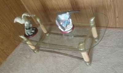 Sofa, recliner and glass coffee table.
