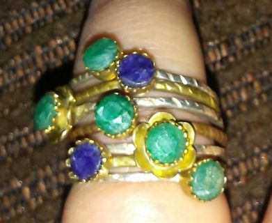 7 band sterling silver emerald & sapphire ring