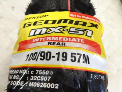 Sell DUNLOP GEOMAX MX-51 100/90-19 REAR TIRE ON SALE RIGHT NOW motorcycle in Alexandria, Virginia, US, for US $79.99