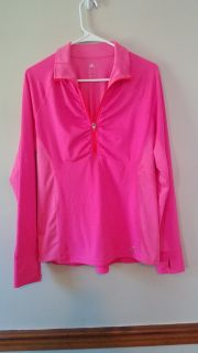 Adidas Performance Womens Climalite Size L Large Half-Zip Pullover Pink