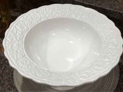 Large White Pedestal Bowl
