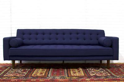 Bradley Mid Century Modern Navy Sofa