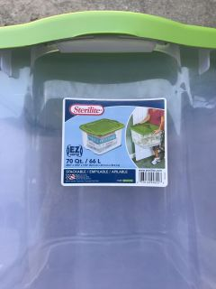 Large Clear Tote with Green Locking Lid, 70 Quart, Sterilite