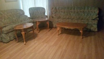 Couch, loveseat, chair, ottoman, coffee table, two end tables.