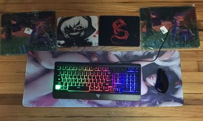 Keyboard and mouse and 5 mouse pads