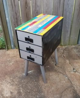 """Repurposed small filing cabinet TO side table, 1 of a kind NOT hobby lobby. 10"""" W x 18"""" D x 24"""" H"""