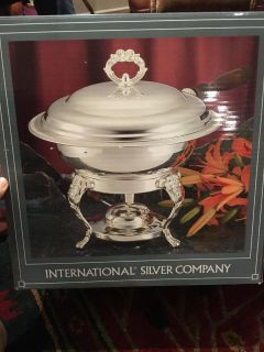 International Silver Company Silver Plated Chafing Dish with Sterno Can Holder