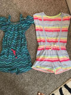 Girls size 7/8 rompers