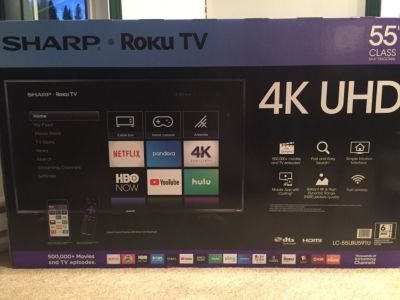 "55"" 4K UHD Sharp Roku  Smart TV- NEW IN BOX"