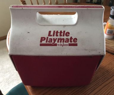 Little playmate plastic cooler. Needs to be cleaned up. Been sitting in garage