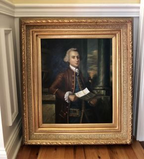BIG HEAVY ORNATE FRAME WITH PAINTING