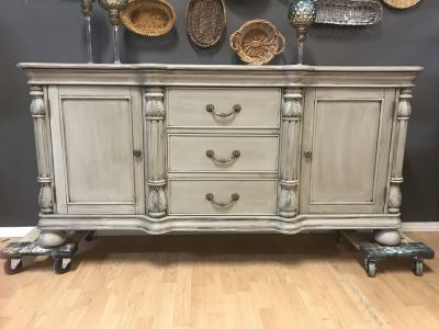 Buffet Entertainment Center Linen hand painted