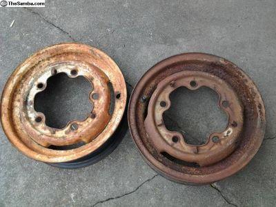 2 Rough Old VW Split Bus Crows Foot Wheels