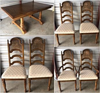 Vintage Dining Room Table with Six Chairs