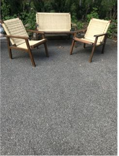 Vintage Wood and Straw Settee and Chairs