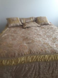 Comforter, throw pillows, bed skirt set