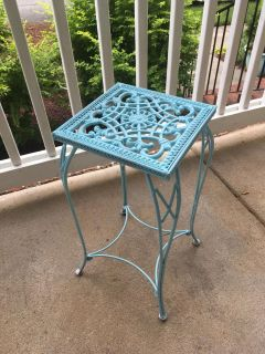 Blue side table for patio