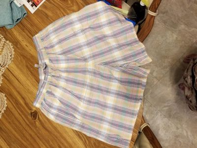 ELISABETH PASTEL COLORED PLAID SHORT SIZE 20, NEW WITH TAGS, ELASTIC WAIST AND SIDE POCKETS