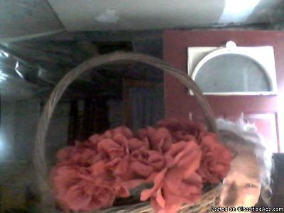 HAND CRAFTED RED ROSE SILK FLOWERED WREATHS,.