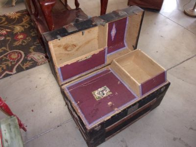 Vintage Camel Back Trunk With Inserts
