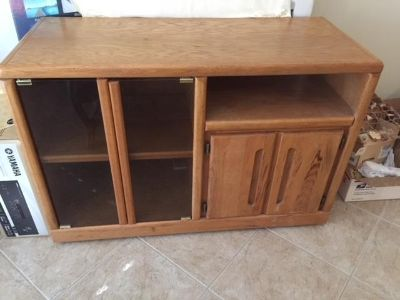 Oak TV Stand with Smoked Glass Doors
